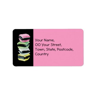 Liquorice Allsorts pink Address Label label