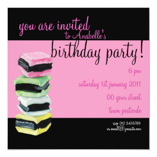 Liquorice Allsorts pink Birthday Party Invitation