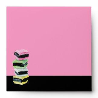 Liquorice Allsorts pink Invitation Envelope envelope
