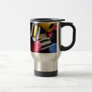 liquorice sweets retro bright rainbow design travel mug