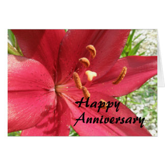 Lirio asiático rojo tarjeta de felicitación