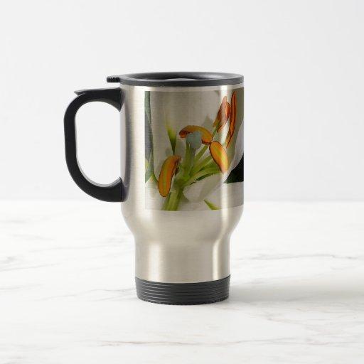 Lirio blanco taza de viaje