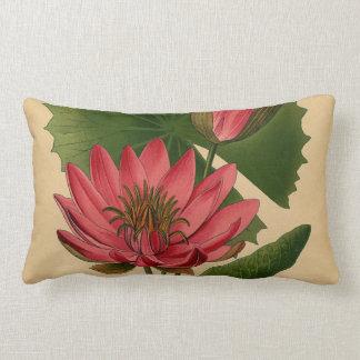 Lirio de agua botánico del rosa de la impresión almohada
