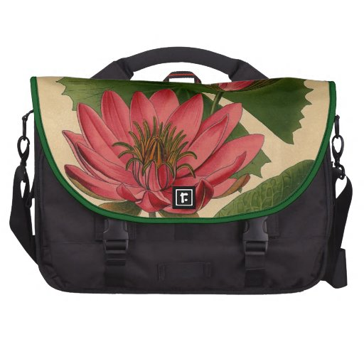 Lirio de agua botánico del rosa de la impresión de bolsa para ordenador
