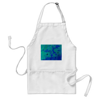 Lirio de agua del verde azul delantal