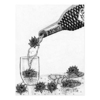 Lirio de agua del vino espumoso tarjeta postal