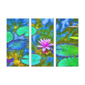 Lirio de agua rosado hermoso Lotus en la charca Impresión En Lienzo