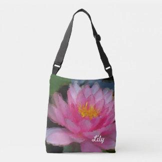 Lirio de agua rosado personalizado de la flor de bolsa crossbody