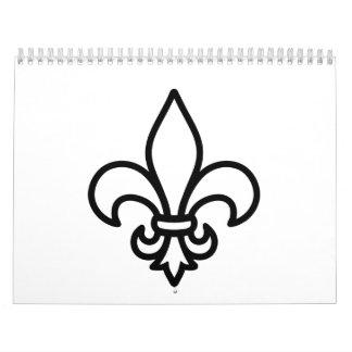 Lirio de la flor de lis calendarios de pared