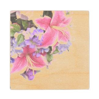 Lirio de la flor del vintage posavasos de arce