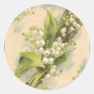 Lirio de los valles del alfabeto de la flor de Z Pegatina Redonda