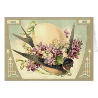 Lirio de los valles del azafrán del huevo de tarjeta de felicitación