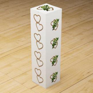 Lirio de los valles y corazones románticos cajas de vino