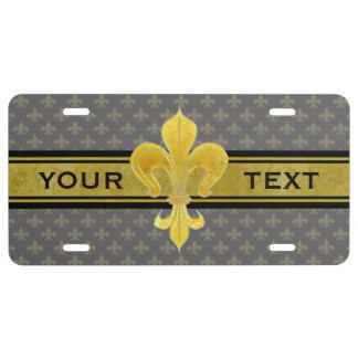 Lirio de oro + su texto y fondo placa de matrícula