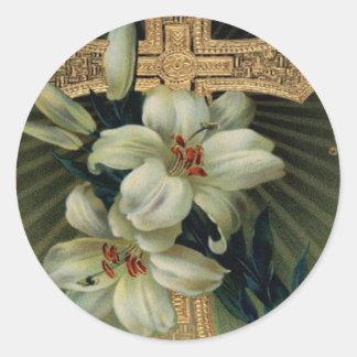 Lirio de pascua cristiano de la cruz del oro pegatina redonda