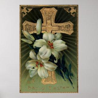 Lirio de pascua cristiano de la cruz del oro póster