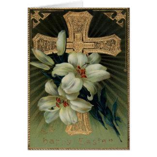 Lirio de pascua cristiano de la cruz del oro tarjeta de felicitación