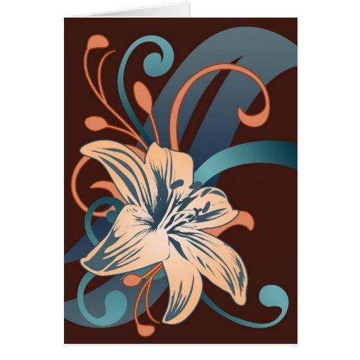 Lirio de pascua en azul tarjeta de felicitación