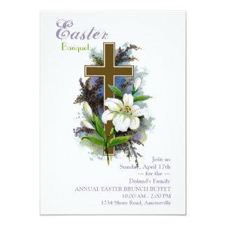 Lirio de pascua y invitación de la cruz