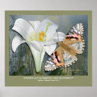 Lirio de pascua y señora pintada Butterfly Póster