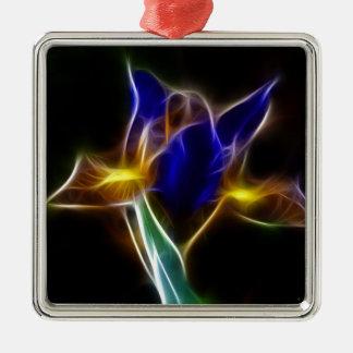 lirio del azul del fractalius adorno navideño cuadrado de metal