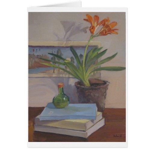Lirio del cafre - tarjeta del arte, en blanco