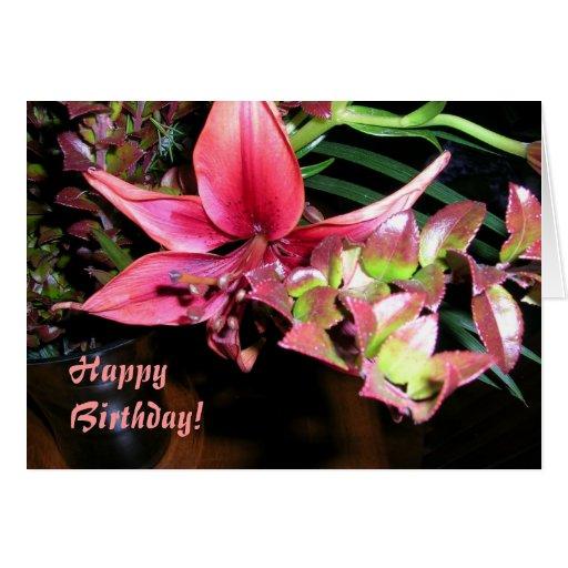 Lirio del cumpleaños tarjeta de felicitación