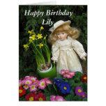 Lirio del feliz cumpleaños tarjetas
