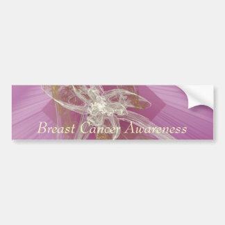 Lirio del fractal - conciencia del cáncer de pecho etiqueta de parachoque