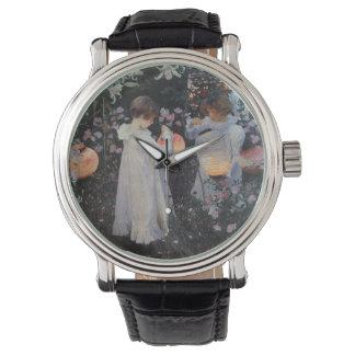 Lirio del lirio del clavel subió relojes de mano