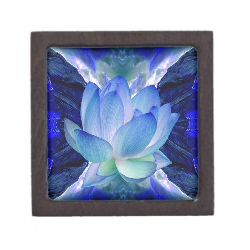 Lirio del loto azul cajas de joyas de calidad