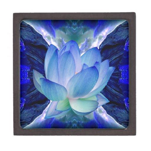 Lirio del loto azul caja de joyas de calidad