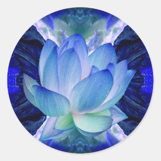 Lirio del loto azul pegatina redonda