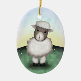 Lirio el cordero - ornamento adorno navideño ovalado de cerámica