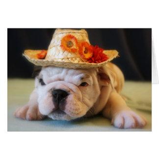 Lirio hermoso, perrito inglés del dogo tarjeta de felicitación