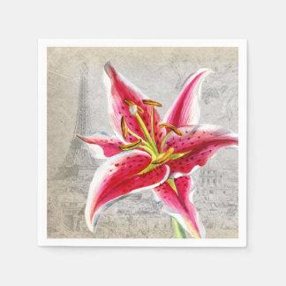 Lirio macro de la flor servilleta desechable
