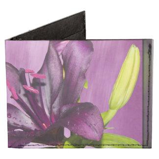 Lirio púrpura con la cascada billeteras tyvek®