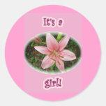 ¡Lirio rosado es un chica! Nuevos pegatinas del Etiqueta Redonda