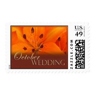 Lirio tigrado anaranjado y marrón para octubre franqueo