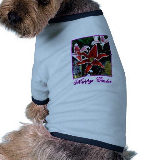 Lirio tigrado magenta feliz de Pascua o El MUSEO Z Camiseta Con Mangas Para Perro