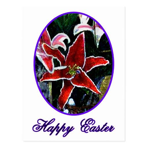 Lirio tigrado púrpura feliz de Pascua o El MUSEO Postal
