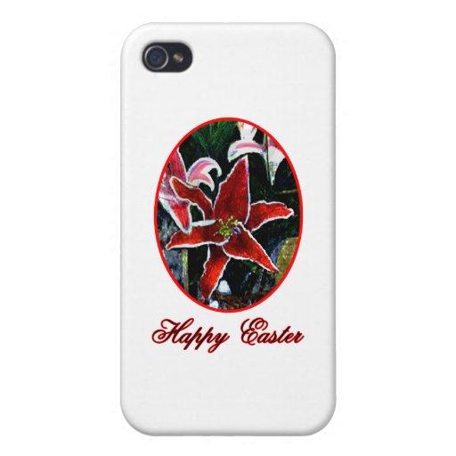 Lirio tigrado rojo feliz de Pascua o el soldado en iPhone 4/4S Carcasa