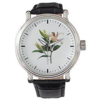 Lirio y brotes elegantes relojes de mano