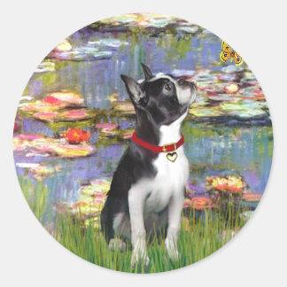 Lirios #2 - Boston Terrier 2 Pegatinas Redondas