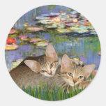 Lirios 2 - Dos gatitos del Tabby Etiquetas Redondas
