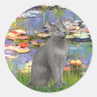 Lirios 2 - Gato azul ruso Pegatina Redonda