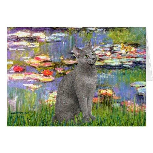 Lirios 2 - Gato azul ruso Tarjeta De Felicitación