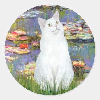 Lirios 2 - Gato blanco Pegatina Redonda