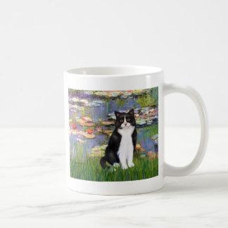 Lirios 2 - Gato blanco y negro Tazas De Café