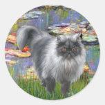 Lirios 2 - Gato persa de plata Pegatinas Redondas